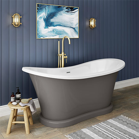 Trafalgar Grey 1685 x 745 Double Ended Slipper Roll Top Bath