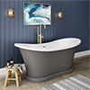 Trafalgar Grey 1685 x 745 Double Ended Slipper Roll Top Bath profile small image view 1