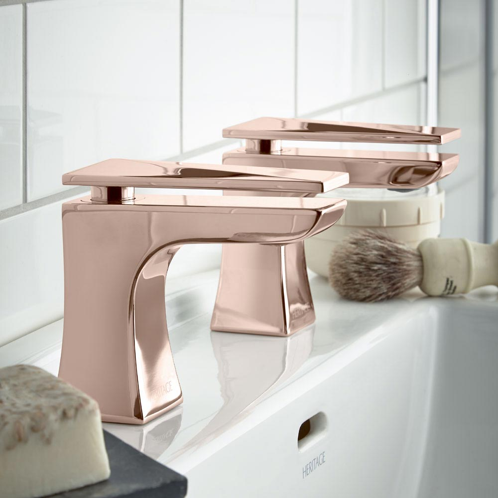 Heritage Hemsby Rose Gold Basin Pillar Taps
