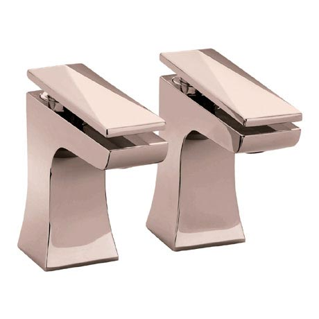 Heritage Hemsby Rose Gold Basin Pillar Taps - THPRG00