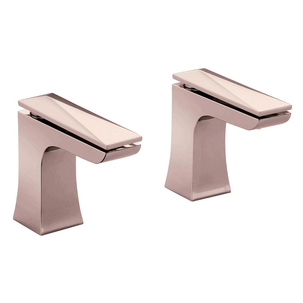 Heritage Hemsby Rose Gold Bath Pillar Taps - THPRG01 profile large image view 1