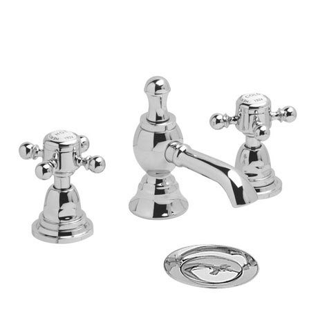 Heritage - Hartlebury 3 Hole Basin Mixer with Pop-up Waste - Chrome - THRC06