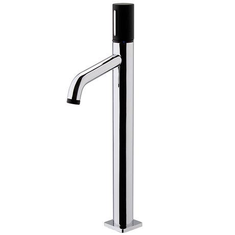 Venice Modern Round Tall Basin Mixer Tap - Chrome / Matt Black