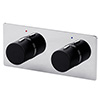 Venice Modern 1 Outlet Twin Round Concealed Shower Mixer Valve - Chrome / Matt Black profile small image view 1