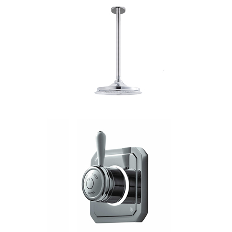 Bathroom Brands Classic 1910 Single Outlet Digital Shower Set with Ceiling Arm + Showerhead - High P