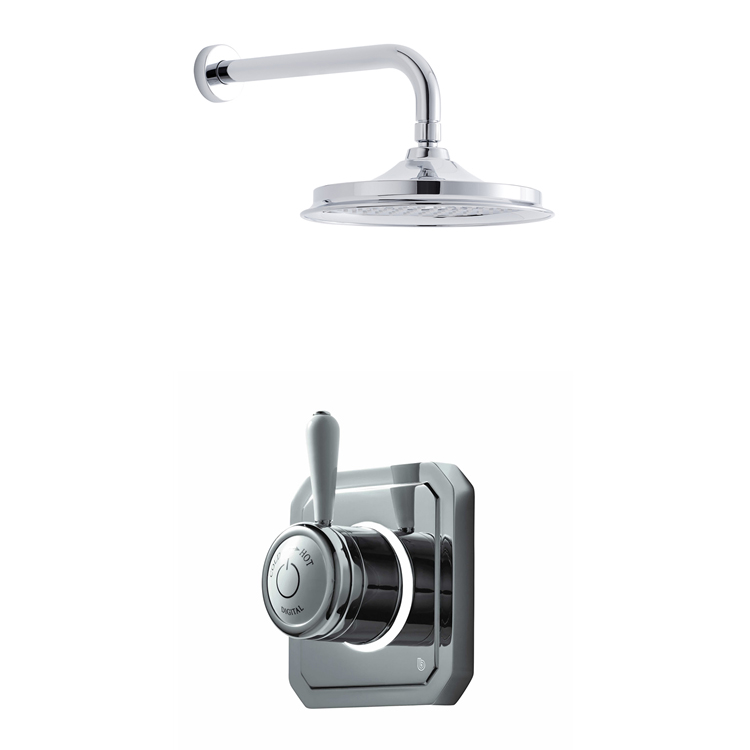 Bathroom Brands Classic 1910 Single Outlet Digital Shower Set with Wall Arm + Showerhead - Low Pressure