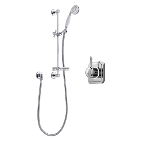 Bathroom Brands Classic 1910 Single Outlet Digital Shower Set with Slide Rail Kit + Soap Basket