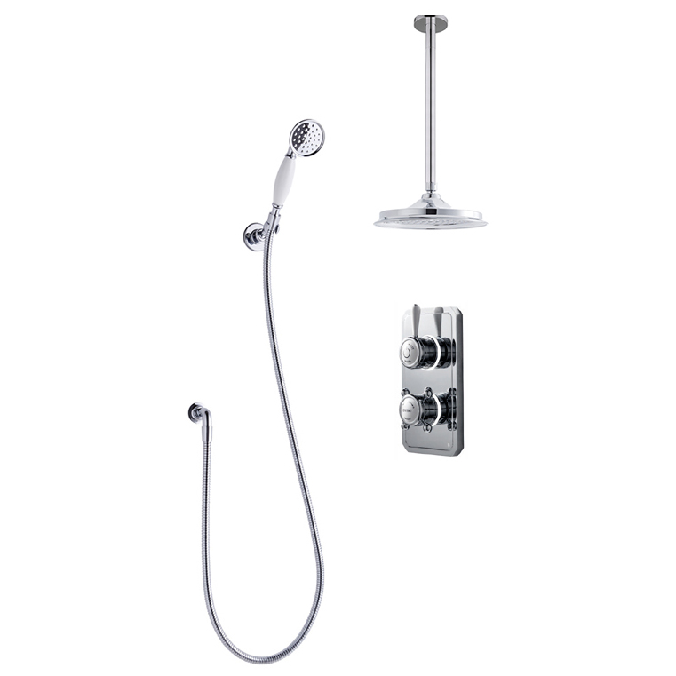 Bathroom Brands Classic 1910 Dual Outlet Digital Shower Set with Ceiling Arm, Shower Kit + Showerhead - Low Pressure