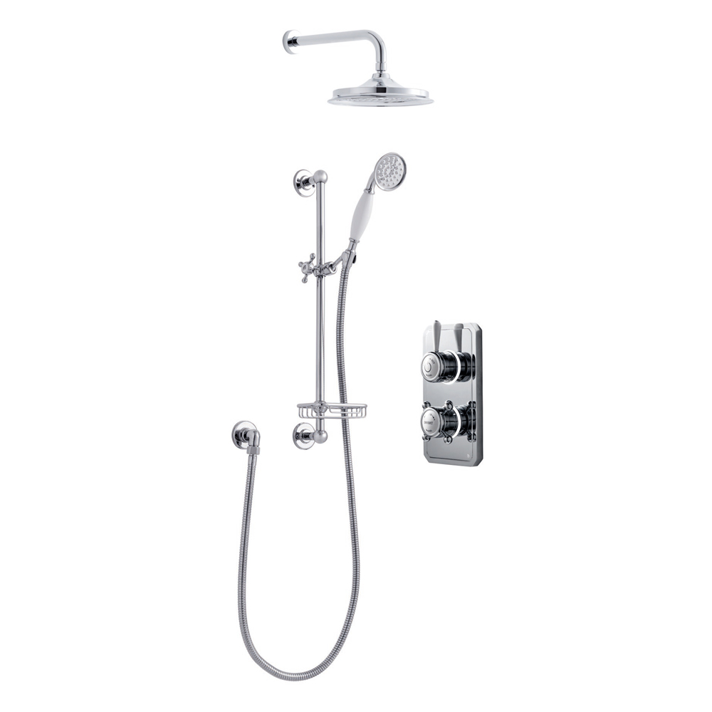 Bathroom Brands Classic 1910 Dual Outlet Digital Shower Set with Wall Arm, Slide Bar, Soap Basket + Showerhead - Low Pressure