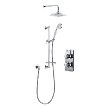 Bathroom Brands Classic 1910 Dual Outlet Digital Shower Set with Wall Arm, Slide Bar, Soap Basket +