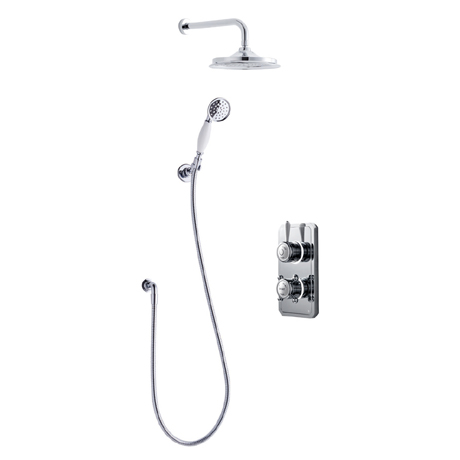 Bathroom Brands Classic 1910 Dual Outlet Digital Shower Set with Wall Arm, Shower Kit + Showerhead -