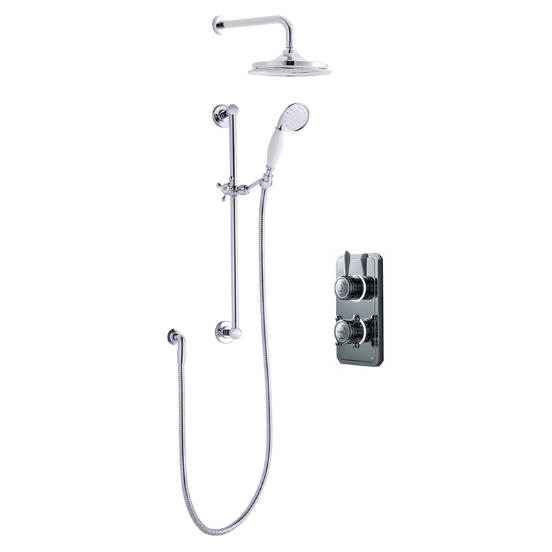Bathroom Brands Classic 1910 Dual Outlet Digital Shower Set with Wall Arm, Slide Bar + Showerhead - Low Pressure