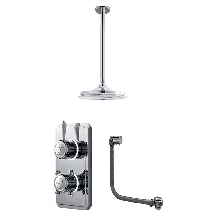 Bathroom Brands Classic 1910 Dual Outlet Digital Bath Shower Set with Bath Filler Waste, Ceiling Arm + Showerhead - Low Pressure