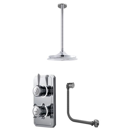 Bathroom Brands Classic 1910 Dual Outlet Digital Bath Shower Set with Bath Filler Waste, Ceiling Arm