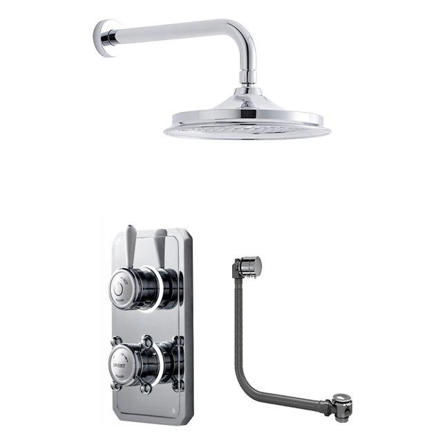 Bathroom Brands Classic 1910 Dual Outlet Digital Bath Shower Set with Bath Filler Waste, Wall Arm + Showerhead - Low Pressure