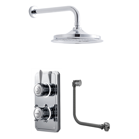 Bathroom Brands Classic 1910 Dual Outlet Digital Bath Shower Set with Bath Filler Waste, Wall Arm +