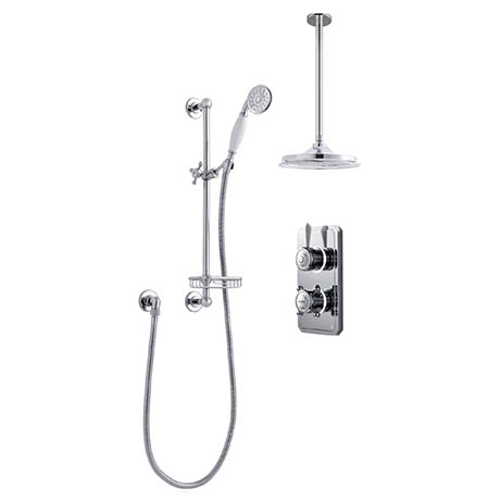 Bathroom Brands Classic 1910 Dual Outlet Digital Shower Set with Ceiling Arm, Slide Bar, Soap Basket