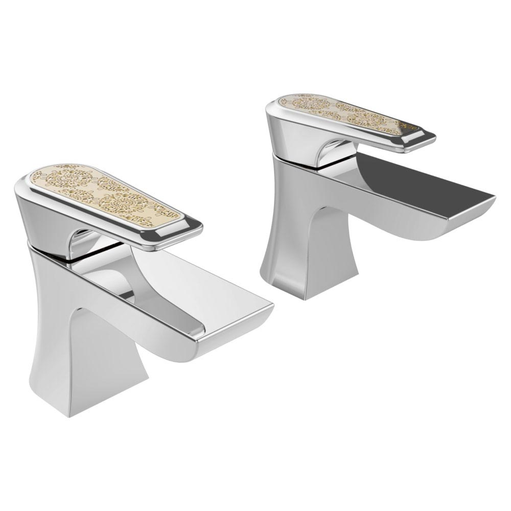 Heritage Lymington Lace Gold Basin Pillar Taps - TLYCG00 Large Image