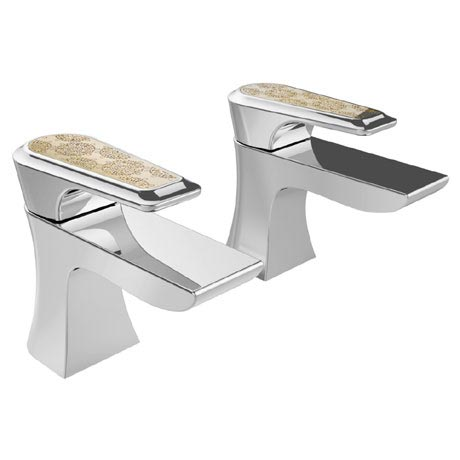 Heritage Lymington Lace Gold Bath Pillar Taps - TLYCG01