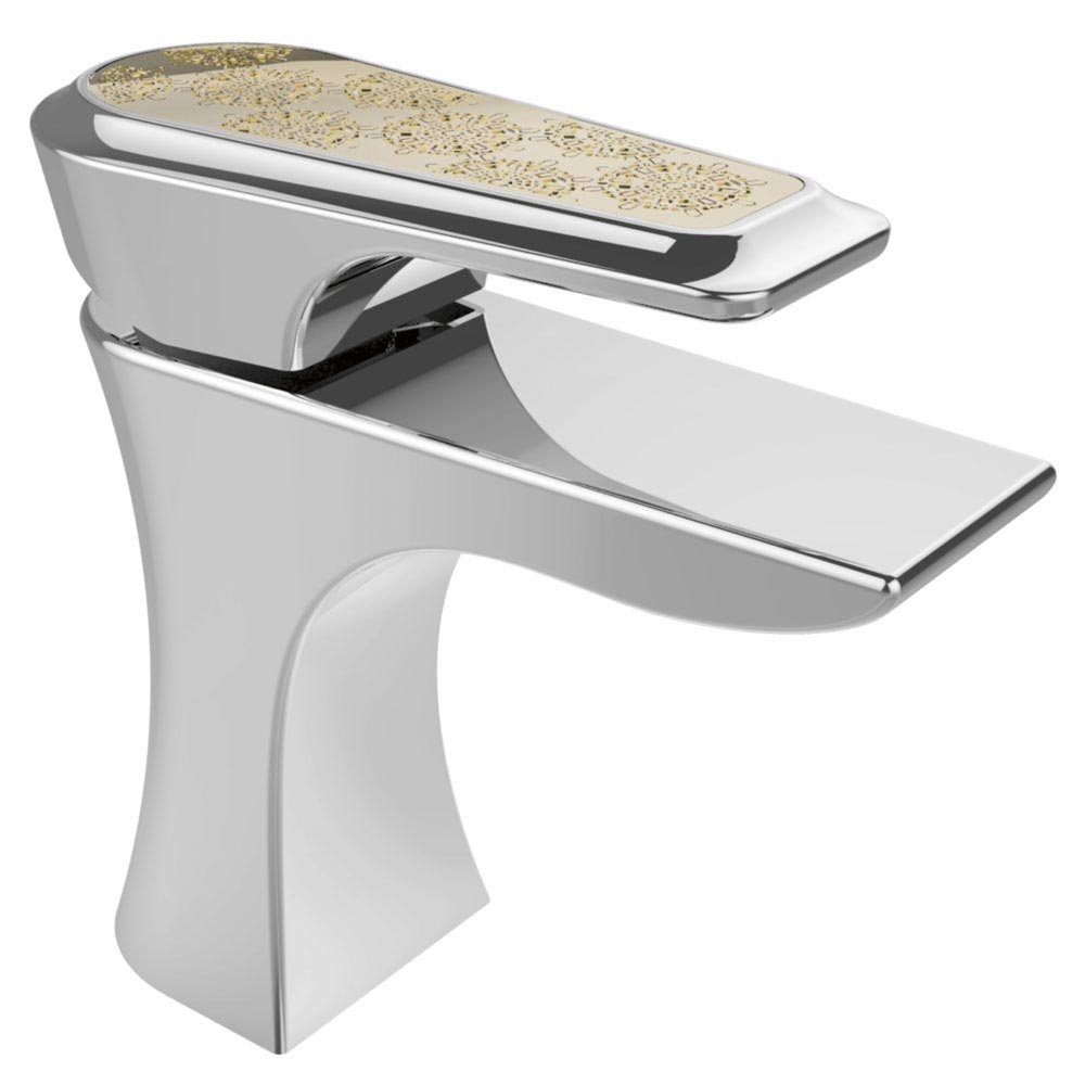 Heritage Lymington Lace Gold Mono Basin Mixer with Clicker Waste - TLYCG04 Large Image