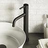 Turin Matt Black Round High Rise Mono Basin Mixer Tap profile small image view 1