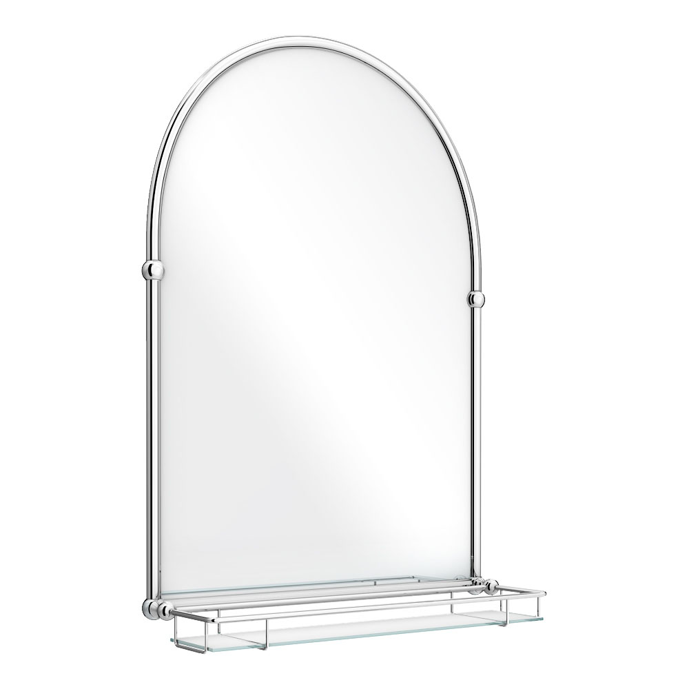 Chatsworth Traditional 700 x 490mm Arched Mirror with Glass Shelf - Chrome