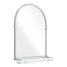 Chatsworth Traditional 700 x 490mm Arched Mirror with Glass Shelf - Chrome Medium Image