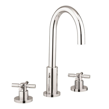 Crosswater Totti II 3 Tap Hole Basin Mixer with Pop-up Waste - TO135DPC+