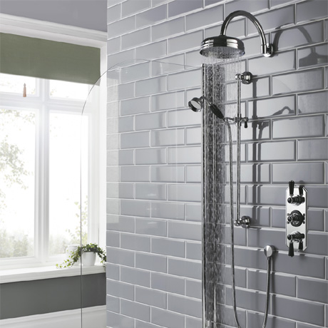 Hudson Reed Topaz Black Triple Concealed Shower with Slide Rail Kit & Fixed Head
