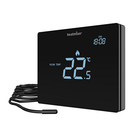 Heatmiser Touchscreen Electric Floor Thermostat - Touch-e Carbon