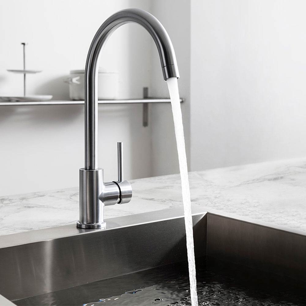 Crosswater Tropic Side Lever Kitchen Mixer w. Concealed Spray Head - Brushed Stainless Steel profile large image view 2