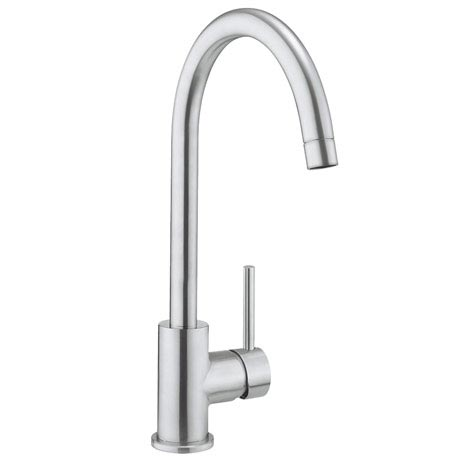 Crosswater Tropic Side Lever Kitchen Mixer w. Concealed Spray Head - Brushed Stainless Steel