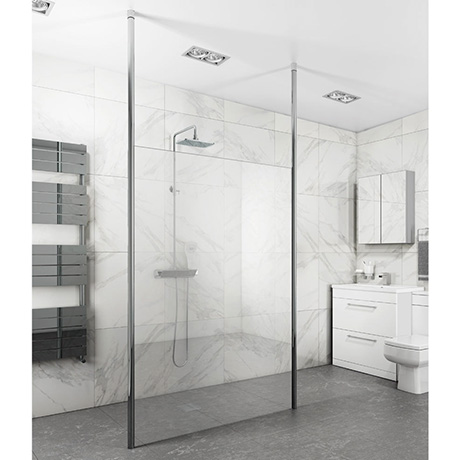 Toronto 8mm Wet Room Screen (Various Sizes) + 2 Ceiling Poles