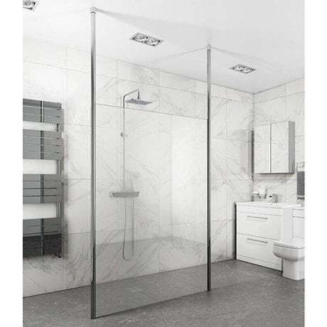 Toronto 8mm Wet Room Screen (Various Sizes) + 2 Ceiling Poles
