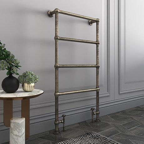 Bloomsbury Old English Brass 498 x 1194mm Floor Mounted Towel Rail