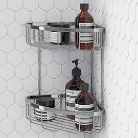 Turin Modern 2 Tier Corner Fixed Wire Basket