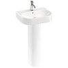 Britton Bathrooms Trim 500mm 1TH Basin with Full Pedestal profile small image view 1