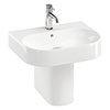 Britton Bathrooms Trim 500mm 1TH Basin with Semi Pedestal profile small image view 1