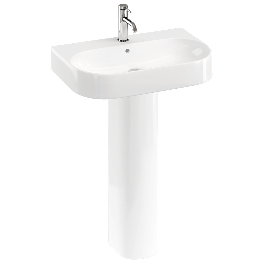 Britton Bathrooms Trim 600mm 1TH Basin with Full Pedestal