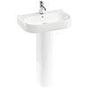 Britton Bathrooms Trim 600mm 1TH Basin with Full Pedestal profile small image view 1