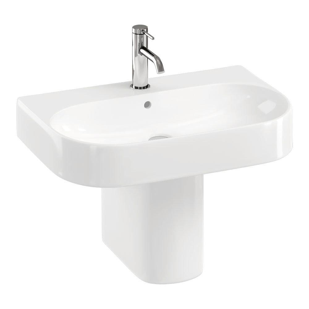 Britton Bathrooms Trim 600mm 1TH Basin with Semi Pedestal