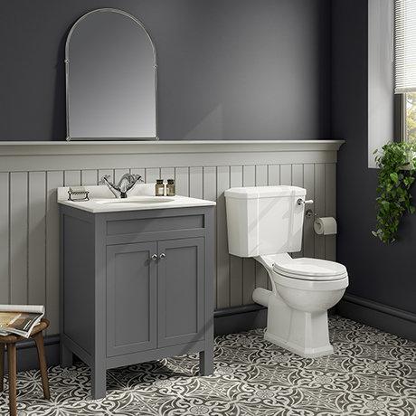 Trafalgar 610 Grey Marble Sink Vanity Unit + Toilet Package