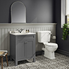 Trafalgar 610 Grey Marble Sink Vanity Unit + Toilet Package profile small image view 1