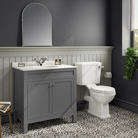 Trafalgar 810 Grey Marble Sink Vanity Unit + Toilet Package