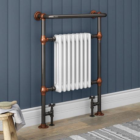 Savoy Black Nickel & Copper Traditional Heated Towel Rail Radiator