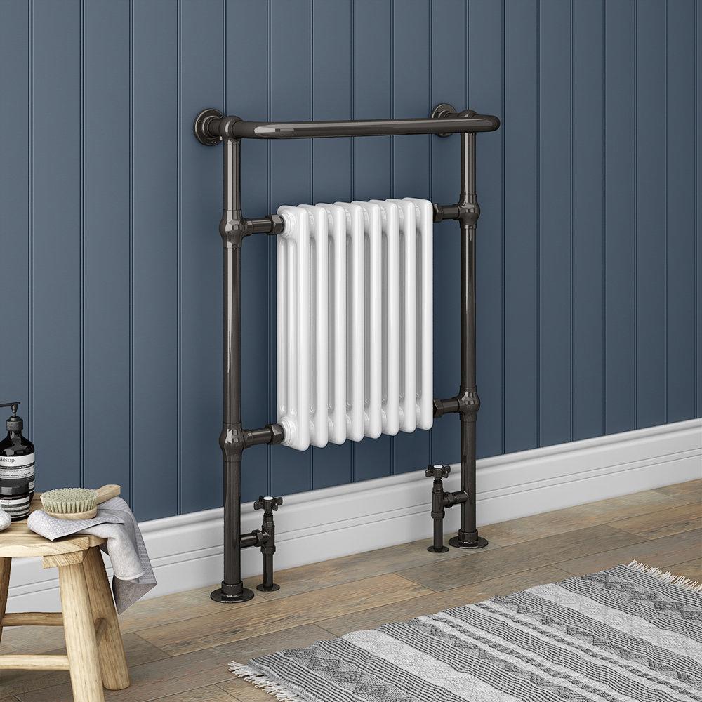 Savoy Black Nickel Traditional Heated Towel Rail