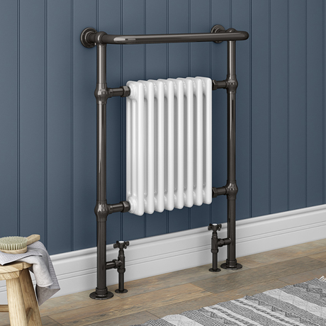 Savoy Black Nickel Traditional Heated Towel Rail