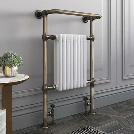 Savoy Old English Brass Traditional Heated Towel Rail Radiator