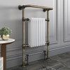 Savoy Old English Brass Traditional Heated Towel Rail Radiator profile small image view 1