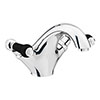 Chatsworth 1928 Traditional Black Lever Mono Basin Mixer Tap + Waste profile small image view 1